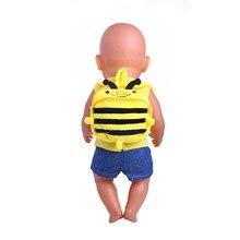 Cute honeybee backpack for 43cm baby born Zapf dolls, children's best birthday gift n330