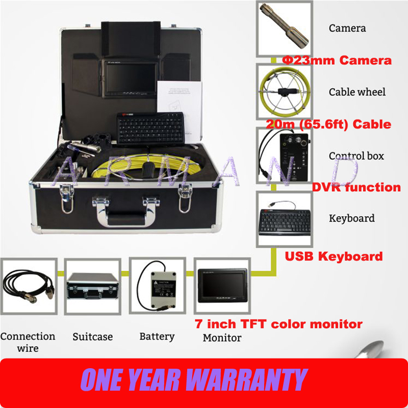 Duct Inspection Tools Video Sewer Camera for Pipe Wall Inspection DVR and Monitor 710DK 8GB SD card image