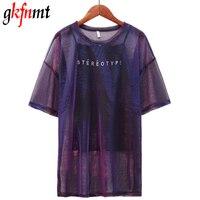 Gkfnmt 2018 летние женские футболки для женщин топ два комплекта короткий рукав красочные прозрачные длинные большие размеры Топы Корре