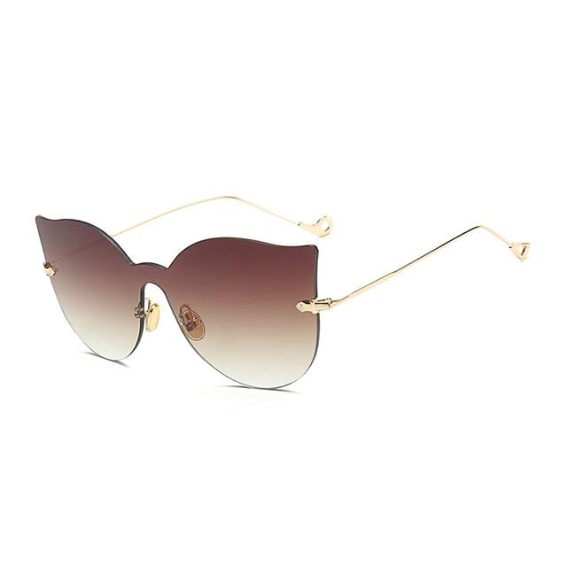 Laoke Wanita Matahari Kacamata Cermin Lensa Kacamata Bingkai untuk Wanita  Mewah Wanita Bingkai Logam Sunglasseseyewear untuk c7a8df1e2c