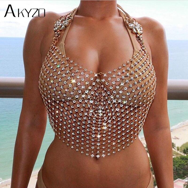 AKYZO Women Exaggerate Rhinestone Design   Tank     Tops   2018 Summer Gold Silver Hollow Out Cropped Glitter Beach Club Show Wear   Tops