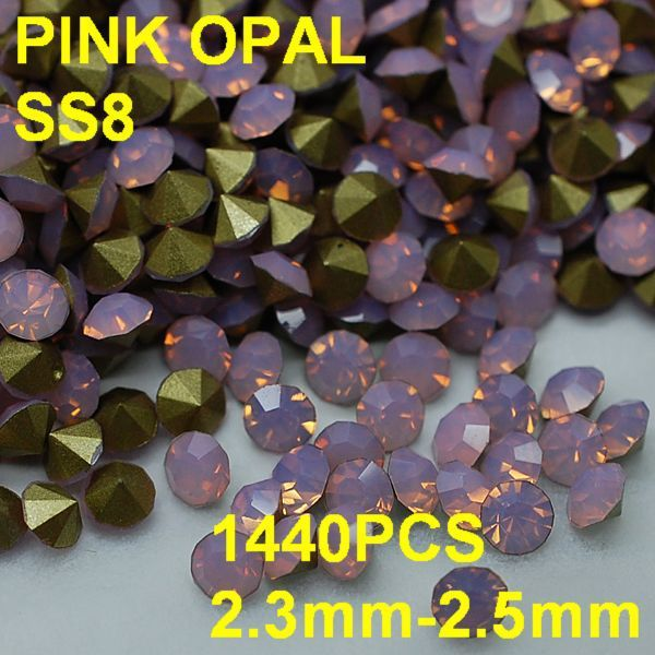 SS8 1440pcs/lot 2.3mm-2.5mm New Design Pink Opal Rhinestone Golden Point Back 3D Rhinestones Decoration For Nail Jewelry