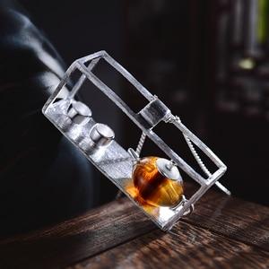 Image 3 - לוטוס כיף רגע אמיתי 925 כסף סטרלינג תכשיטים טבעי אבן בציר קומקום תליון ללא שרשרת לנשים
