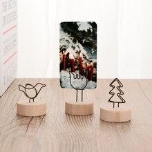 1 шт. креативная круглая деревянная фото Закладка-магнит имя Подвеска-открытка держатель для заметок фото рамка стол номер свадебный фото держатель