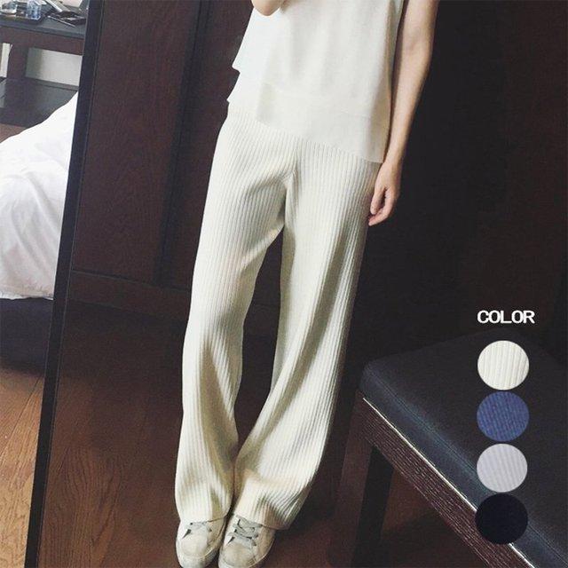 2017 Promoção Algodão Spandex Acrílico Mulheres Calças Pantalones Mujer 2017 Nova Primavera Calças De Malha Lisa das Mulheres Calças de Pernas Largas