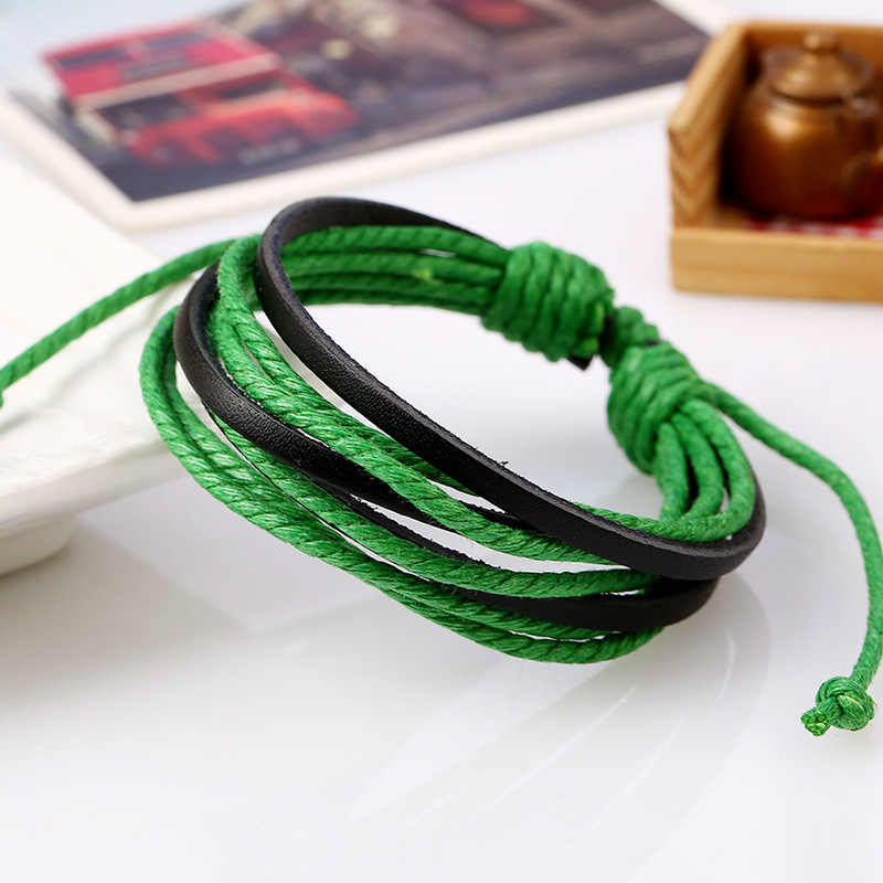 1Pc kolorowe monochromatyczny tkane skórzane bransoletka czysta ręcznie malowane skórzane liny bransoletki kobiety i mężczyźni bransoletka z plecionym liny