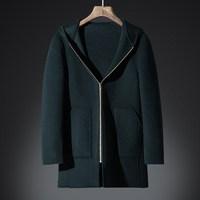 DHfinery зимнее шерстяное пальто Для мужчин длинные участки с лацканами 65% шерстяные пальто Черный Серый Бизнес пальто Для мужчин s ветровка 9907