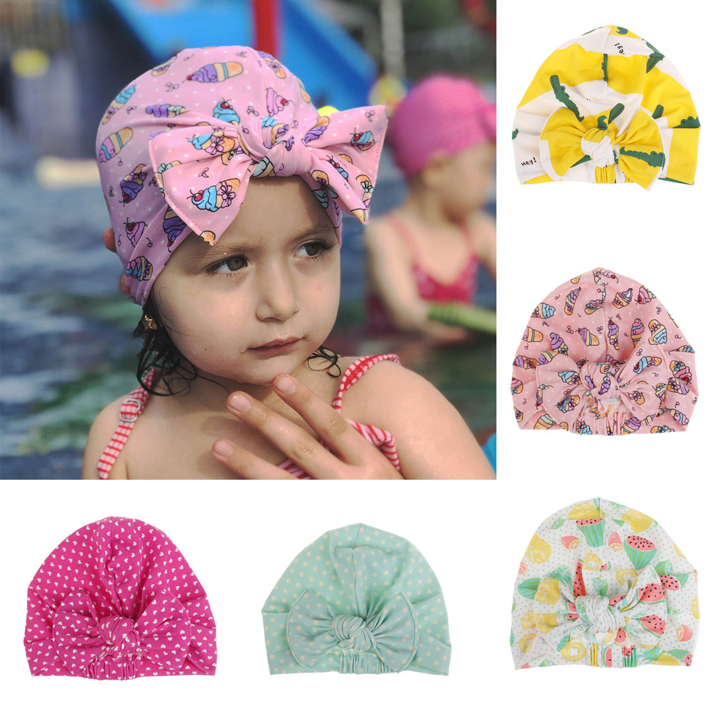 Children's Swimming Cap Cartoon Bow Print Swimming Hat Waterproof Stretch Swimming Cap Sports Hat A1