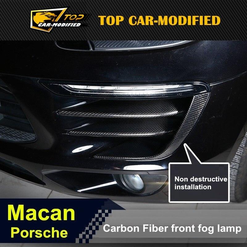 100% couvercle de lampe anti-brouillard en Fiber de carbone sèche 6 pièces/ensemble pour Porsche macan