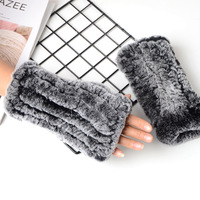 895623 Winter accessories for women Rex Rabbit Fur Mittens Hand knitted gloves ladies half finger wristbands thermal gloves