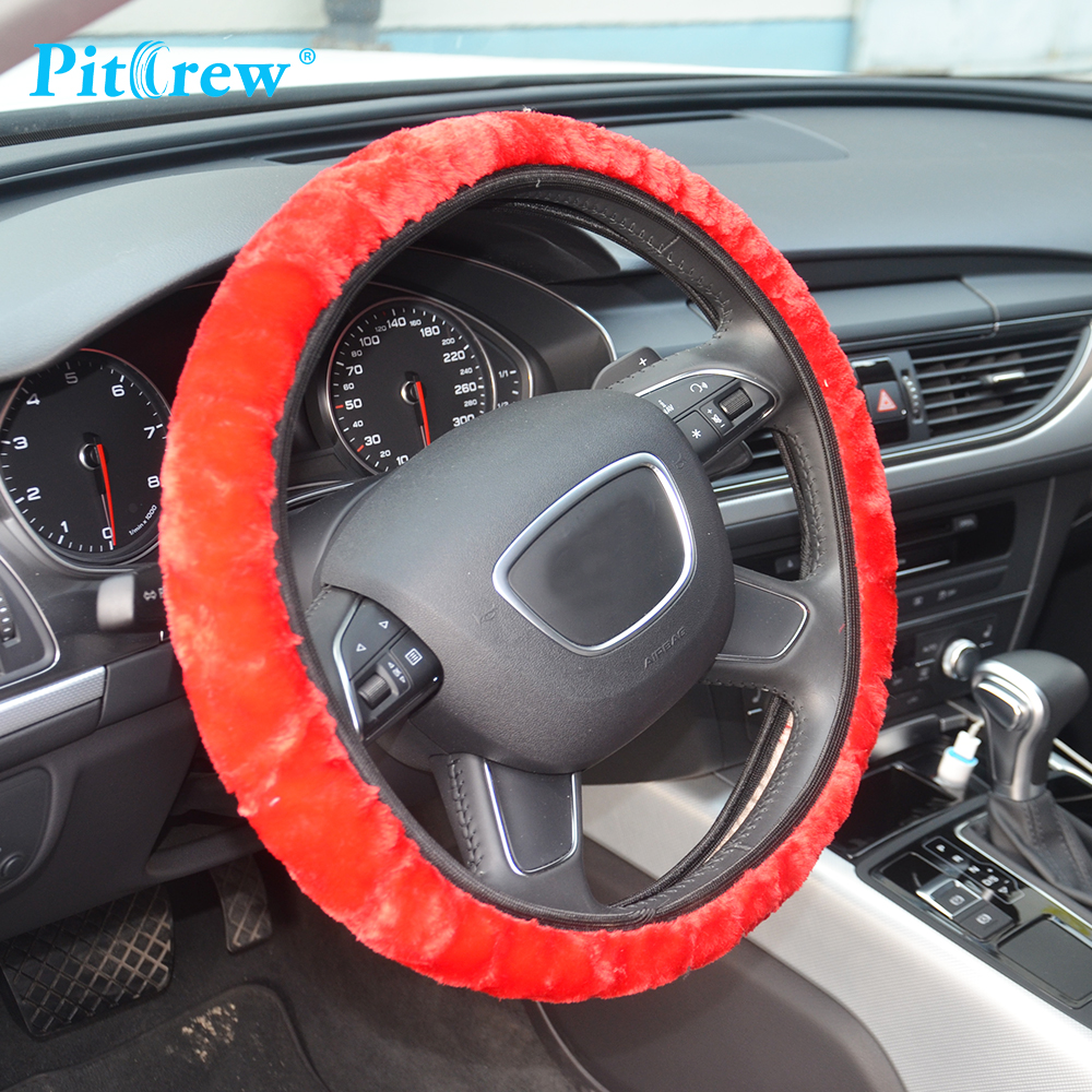 1 stück rutschfeste künstliche wolle auto dekoration lenkrad für - Auto-Innenausstattung und Zubehör