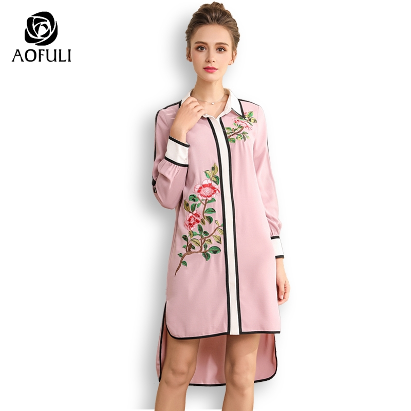 AOFULI designer flowers embroidery dresses runway style fall fashion high low party dress long sleeve L