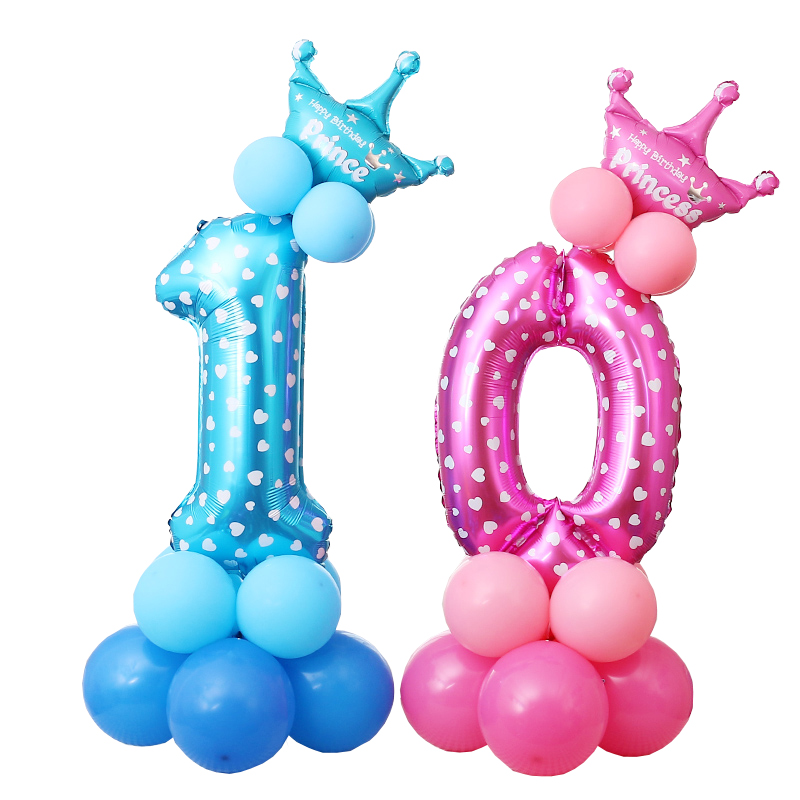 30 Inch Number Foil Balloons Stand Holder Baby Shower Latex Balloons 0-9 Year Old Birthday Party Decor Stand Set Globos