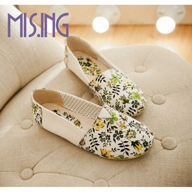 Горячие продажи женской обуви мода Печать Кожа Холст плоские туфли Женский цветочные досуг обувь удобные вскользь светло-женщины плоские