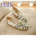 Hot sales women shoes fashion Printing Leather Canvas flat shoes Female floral leisure shoes comfortable casual light women flat