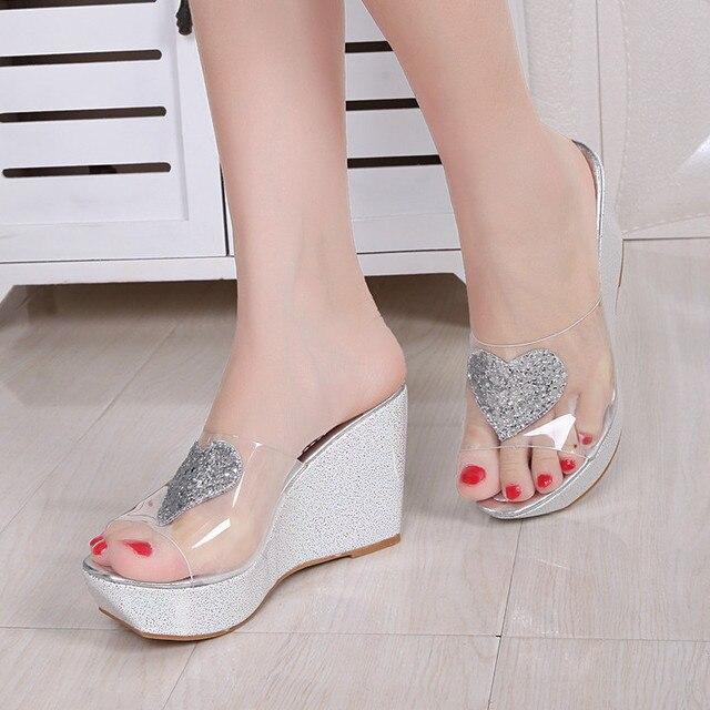 a55f11b35 2017 Novo Verão Transparentes Cunhas Plataforma Sandálias Mulheres Moda  sapatos de Salto Alto Sapatos Femininos de