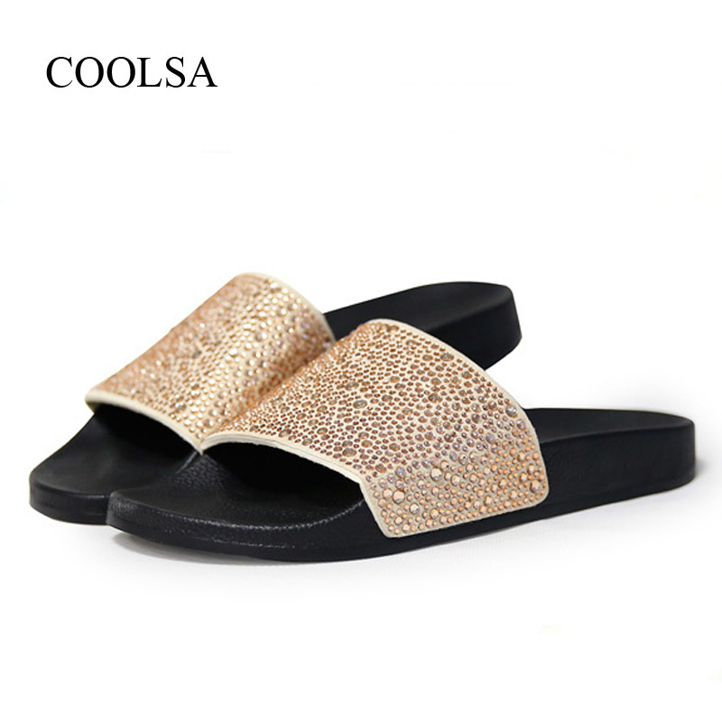 COOLSA Womens Solid Flat Rhinestone Bling Slippers Womens Non-slip Indoor Crystal Slippers Beach Flip Flops Womens Slides HotCOOLSA Womens Solid Flat Rhinestone Bling Slippers Womens Non-slip Indoor Crystal Slippers Beach Flip Flops Womens Slides Hot
