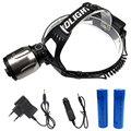 Aluminum led recgargeable headlamp zoomable headlight tactical head flashlight+18650 battery+EU/US/UK/AU car-charger