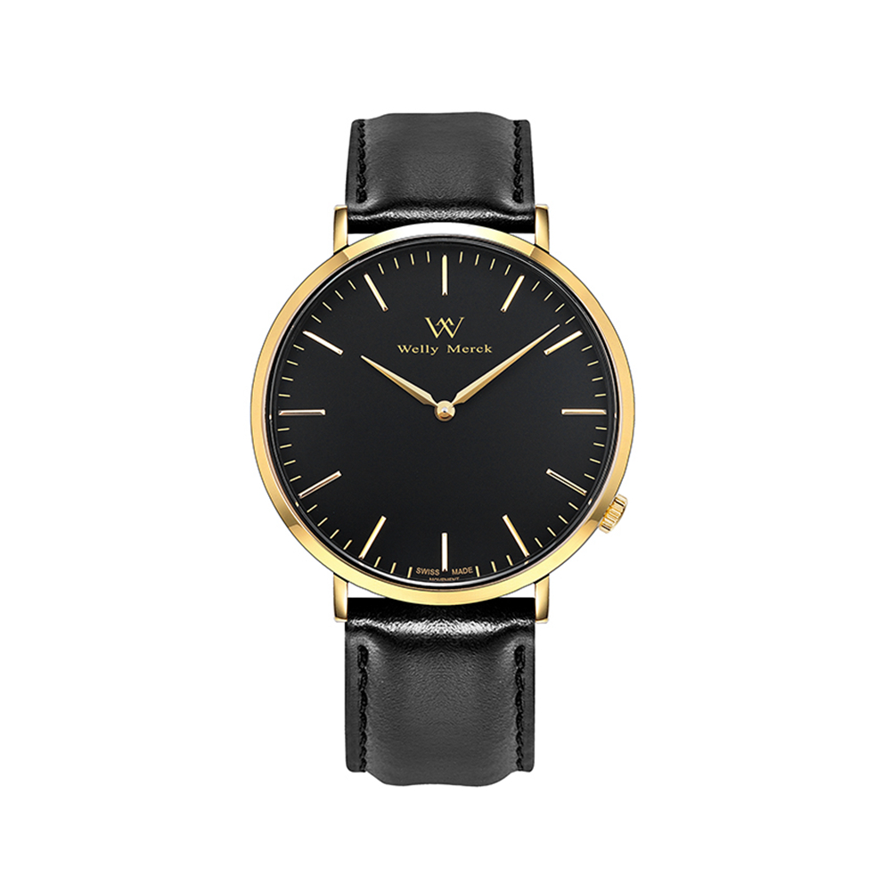 Welly Merck Fashion Sapphire Crystal Glass Watch with Leather Interchangeable Black Strap for Women