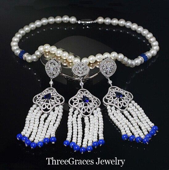 Hecho a mano perlas joyas micro pave cubic zirconia azul largo cuelgan granos de la perla conjuntos collar pendientes para la boda js150