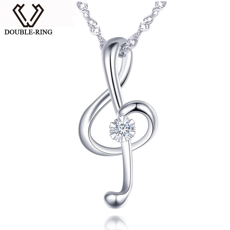 DOUBLE R Long Pendant Necklace Female 0 02ct Diamond musical note Pendants Romantic Solid Sterling Silver