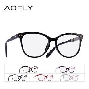 Image 5 - AOFLY modne okulary kobiet konstrukcja nitów ponadgabarytowych okrągłe oprawki optyczne klasyczne okulary w stylu Vintage do czytania przezroczyste soczewki AF9205