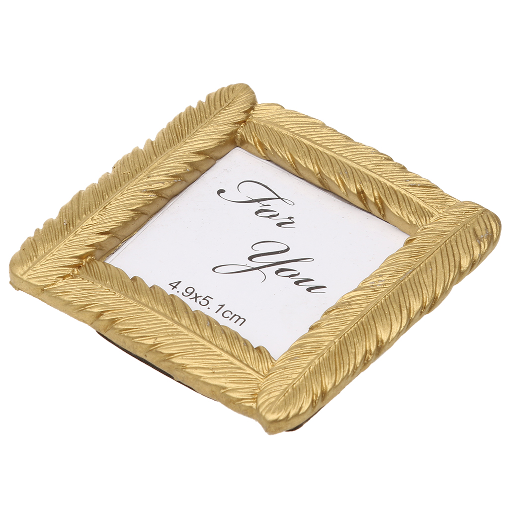 Gold Tone Small Feather Photo Frame Picture Display Desk Table Room Party Fancy Party Accessories