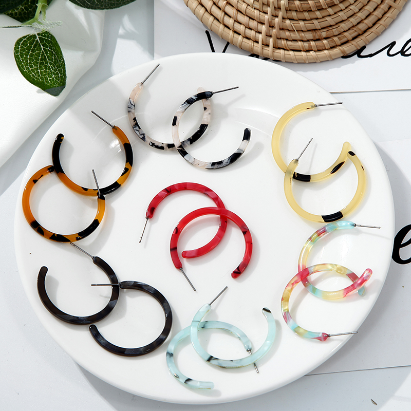 Simple Punk Circle Acrylic Leopard Boho Resin Acetate Earrings 2019 Multi-color Statement Vintage Drop Earring For Women Gift