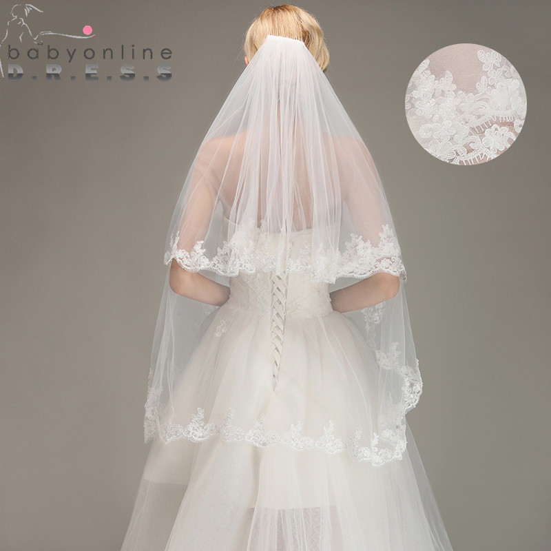 Wedding-Veil Short Lace-Edge Voile Comb Tulle Mariage Ivory White Two-Layers With Veu-De-Noiva