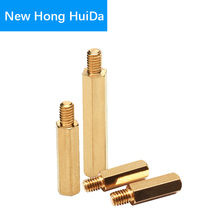 M2.5 Hex Brass Male Female Standoff Stud Board Threaded Pillar Hexagonal PCB Motherboard Spacer Bolt Screw Nut M2.5*L+6mm m2 brass male female standoff pillar mount threaded pcb motherboard pc computer round spacer hollow bolt screw long nut