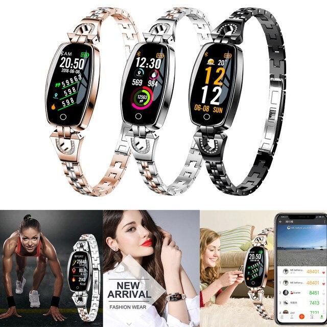 2018 New Fashion Smart Bracelet Watch Women HD Color Screen Blood Pressure Heart