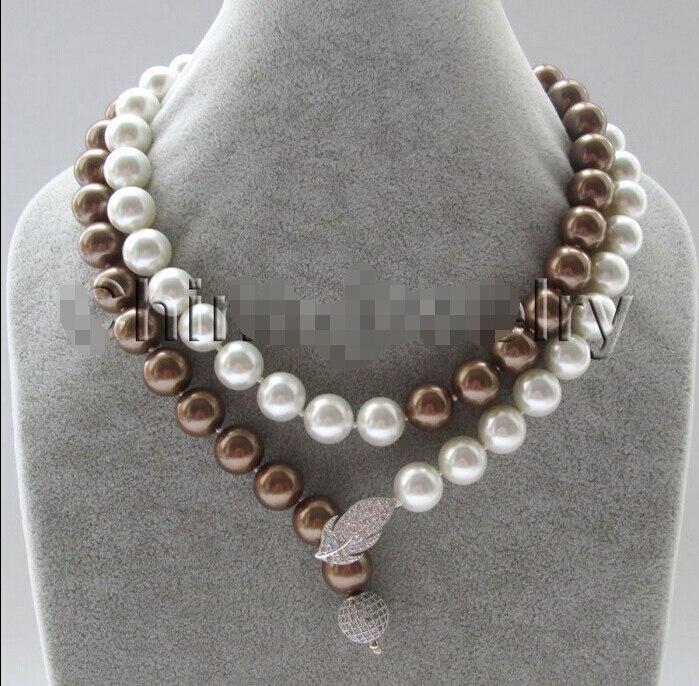 9f88eddbbc80 Venta caliente noble-envío libre ESD560 a  collar-35 12mm blanco + café  redondo perfecto mar del Sur Shell collar de perlas-un 6
