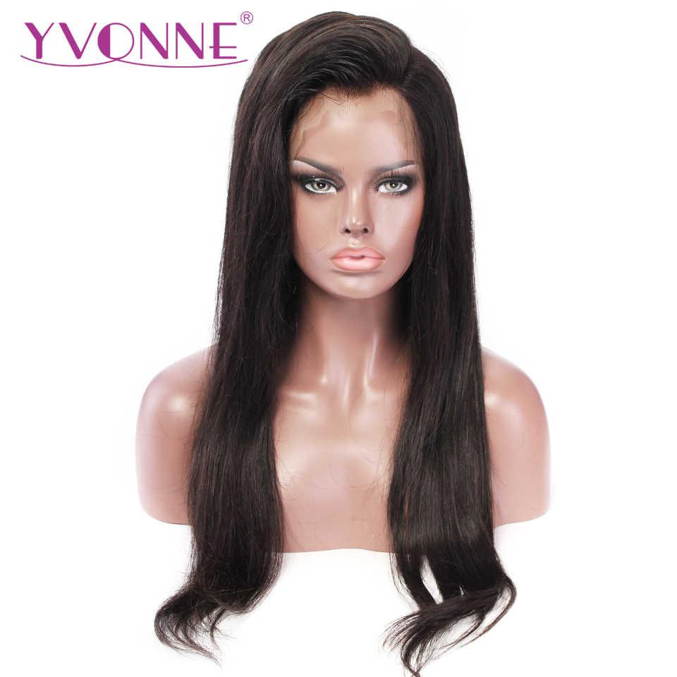 YVONNE prosto koronki przodu włosów ludzkich peruki dla kobiet dziewiczy brazylijski peruki z naturalnym kolorem