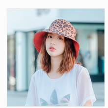 2019 new summer womens double-sided leopard fisherman hat outdoor leisure sun Japanese retro pop style