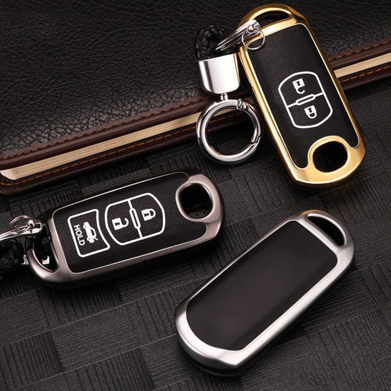Çinko alaşım araba için uzaktan anahtar kılıfı Mazda 2 3 6 Axela Atenza CX-3 CX-5 CX5 CX-7 CX-9 2014 2015 2016 2017 akıllı 2/3 düğmeler