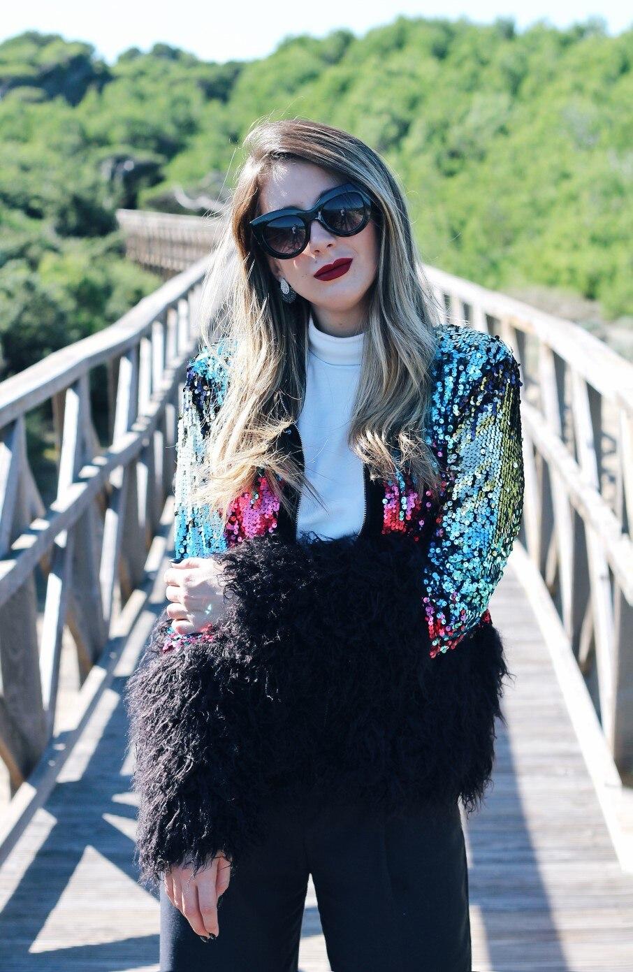 RDHOPE-Women Mid Long colorful Faux Fur Luxury Fluffy Top Coat Green L
