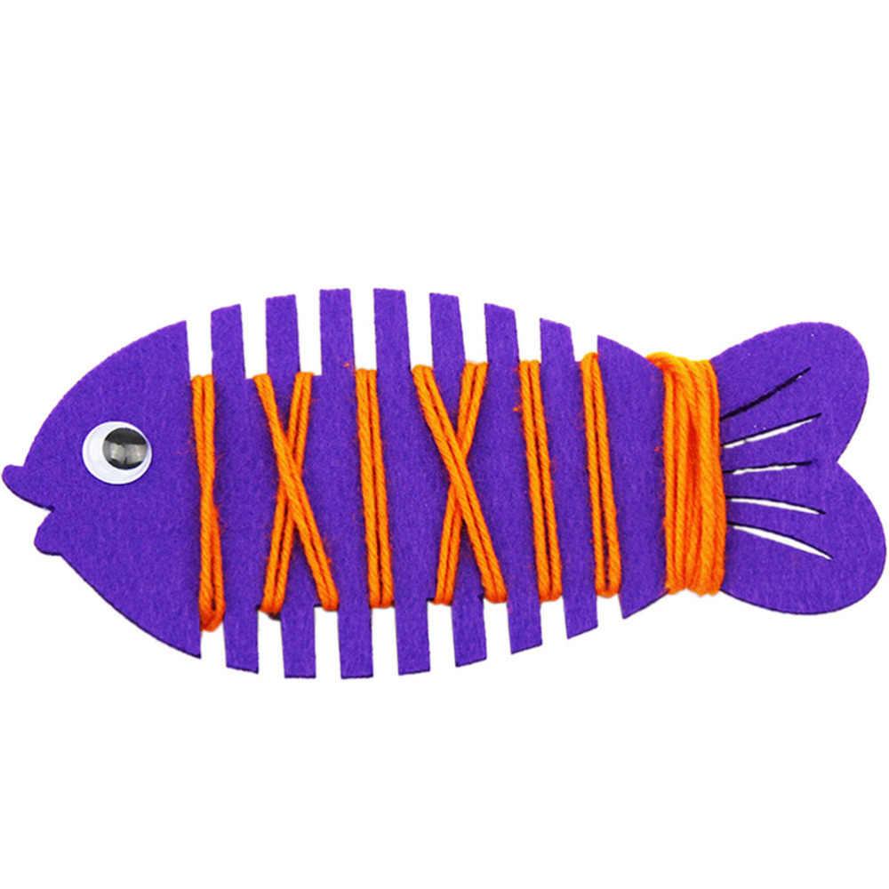 Cuerda de animales de dibujos animados alrededor de peces bebé niños juguetes de aprendizaje Patience Thinking mano de coordinación Trainer colorido pez juguete