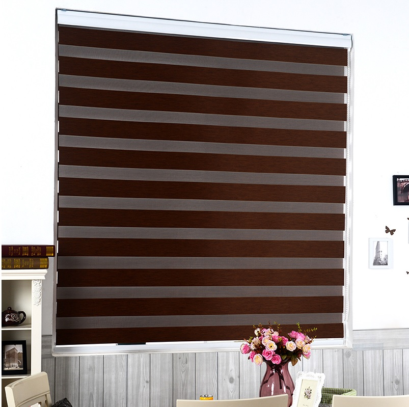 ФОТО Custom Cut-to-Size Roller Zebra Blind / Light Filtering Sheer Shade (Brown)