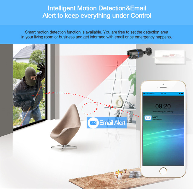 MISECU 2.8mm wide IP Camera 1080P 960P 720P ONVIF P2P Motion Detection RTSP email alert XMEye 48V POE Surveillance CCTV Outdoor