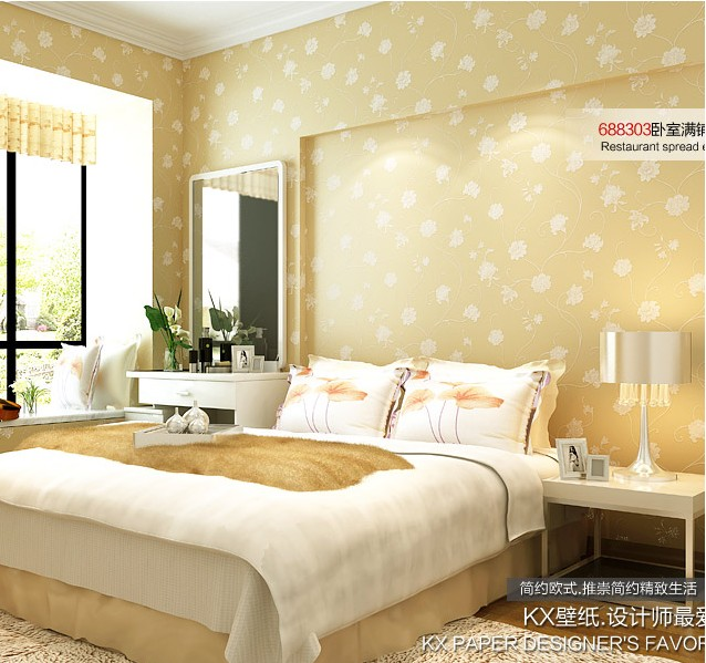 2016 New Best Selling Non Woven Wall Paper European Contracted Yarn Rattan Flower Wallpaper Sitting