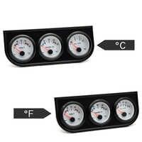 Water Temp Celsius/Fahrenheit Oil Pressure PSI/KG Volt Gauge 52mm 3 in 1 Triple Gauge Kit Black Bezel White Face With Sensor