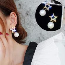 2019 New Fashion Five-pointed Star Studs Best Selling Simple Popular Gold Stars Pearl Earrings Jewelry Wholesale