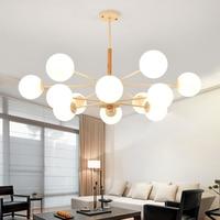 Modern LED chandelier wooden bedroom suspension lighting home deco hanging lights Nordic fixtures living room suspended lamp