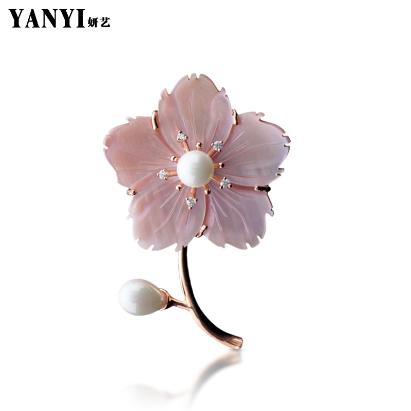 YANYI New Arrivel Beautiful Natural Shell Flower Brooches For Women Suit Sweater Scarf Collar Pink White Large Brooch Pins Gifts