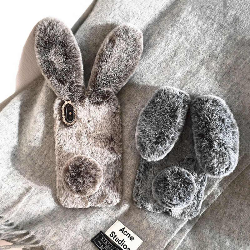Милый меховой плюшевый чехол для телефона с кроликом для iPhone X XS Max XR 11 Pro Max Чехол Мягкий ТПУ задняя крышка для iPhone 6 6s 7 8 Plus Coque