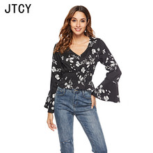 JTCY Flare Sleeve Sexy V-neck Chiffon Women Blouses Shirt Long Short Floral Blouse Top Slim Casual Wild Female Tops