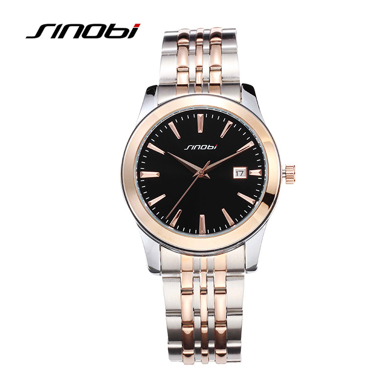 SINOBI Rose Gold Luxury Wrist Watch Clock Women Reloj Mujer Ladies Quartz Watch Women Waterproof Relogio Feminino 2017 With Date sinobi top brand ceramic watch women watches luxury women s watches week date ladies watch clock relogio feminino reloj mujer