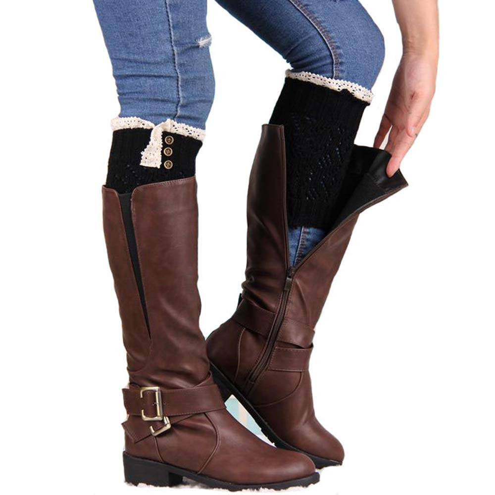 Women Lace Stretch Boot Leg Cuffs Boot Socks