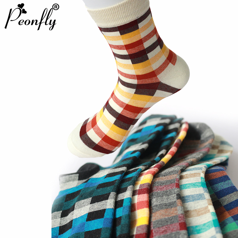 PEONFLY Brand Happy Socks Gradient Color Paragraph Summer Style Pure Cotton Stockings Men's Knee High Business Socks Sox