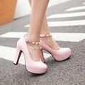Big size 34-43 women shoes pumps high heels Mary Janes pumps fashion Metal Decoration String Bead Spring/Autumn platforms pumps